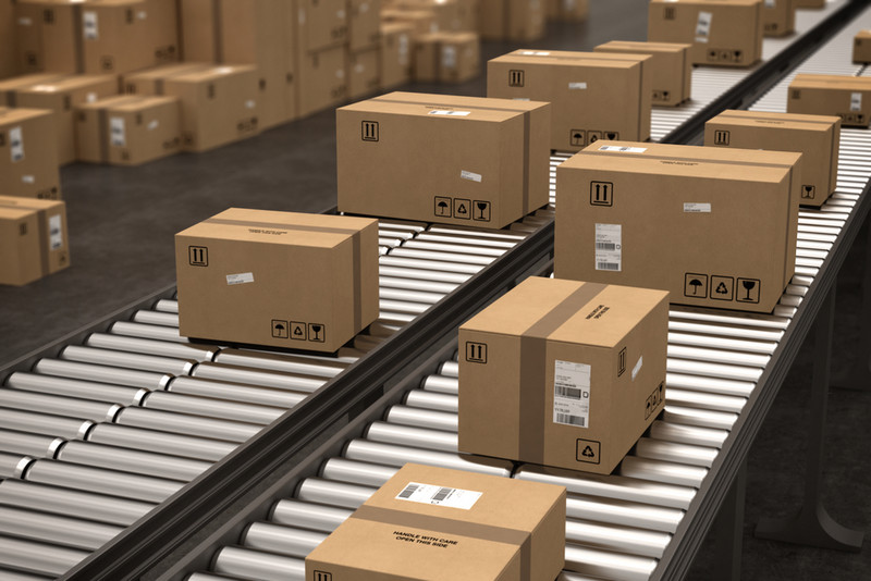 warehouse boxes on the sortation conveyors
